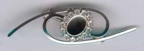 158BR 8x6 Crystal Brooch Nickel Plate