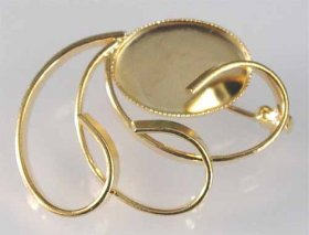85BR 18 x 13 milled-edge BROOCH Gold Plate