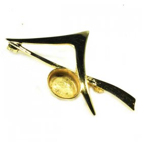 DL124 10x8 Hard Gold Plated Solid Sterling Brooch